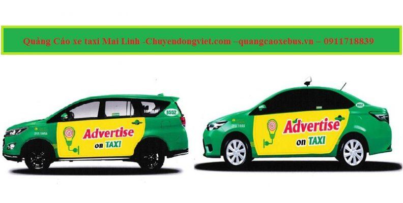 quảng cáo trên than xe taxi Mai Linh