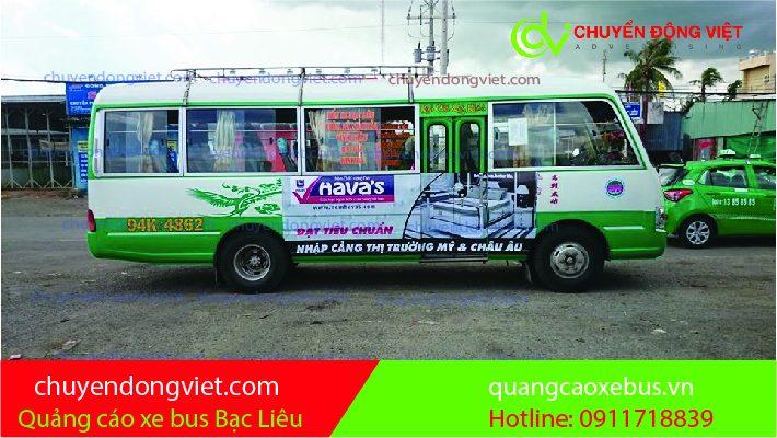 Quảng cáo trên xe buýt Bạc Liêu
