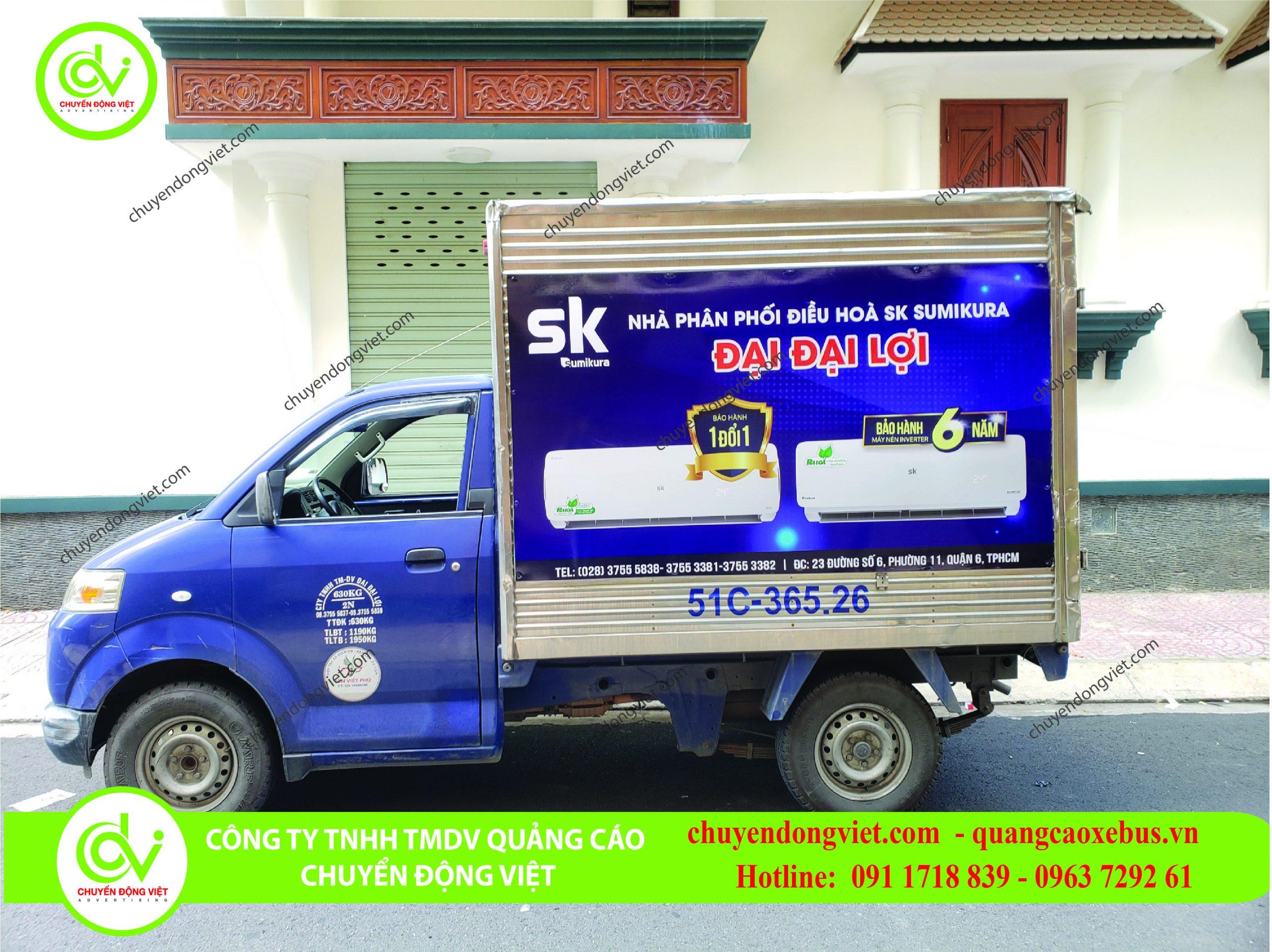 Hình ảnh khách hàng quảng cáo dán decan thùng xe tải